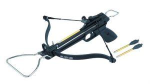 Пистолетен арбалет с устройство за зареждане и автоматичен предпазител